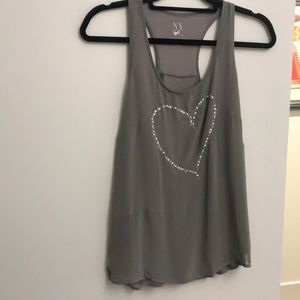 Gray flowing tank with beaded heart design